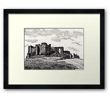 187 - BAMBURGH CASTLE - DAVE EDWARDS - INK - 1991 Framed Print