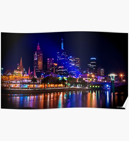 City by the Yarra - Melbourne CBD at Night Poster