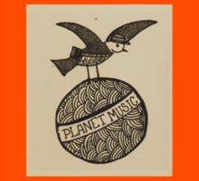 Planet music bird retro illustration Kids Tee