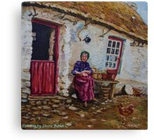 """Taking the Air, Elderly Lady at her Smallholding, Glens of Antrim."" Painted from a photograph dated 1906. Canvas Print"