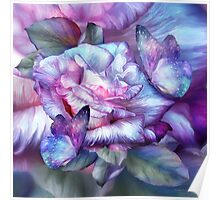 Purple Rose And Butterflies Poster