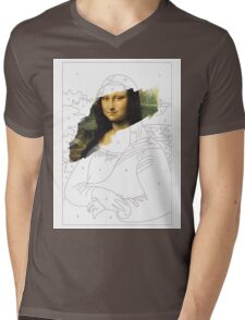 Mona Lisa by Numbers Mens V-Neck T-Shirt