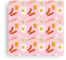 Egg and bacon breakfast seamless  print Canvas Print