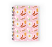 Egg and bacon breakfast seamless  print Spiral Notebook