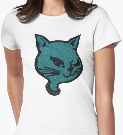 Blue Winking Cat  Womens Fitted T-Shirt