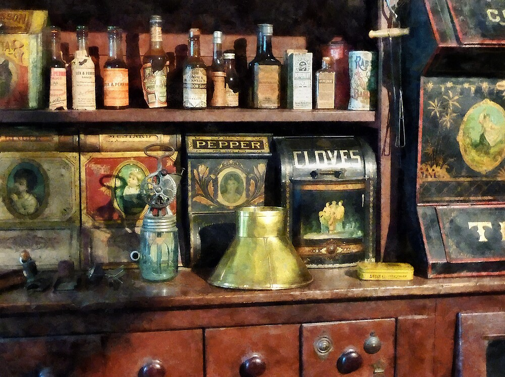 Brass Funnel and Spices by Susan Savad
