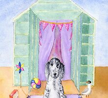 Cocker Spaniel Puppy  Beach Hut Watercolour by cottagerts
