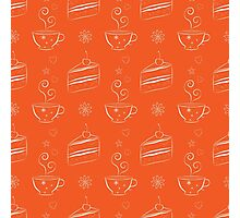 Seamless pattern with cakes and teacups Photographic Print