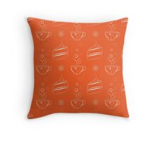 Seamless pattern with cakes and teacups Throw Pillow