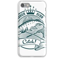 Badge or label with jumping salmon.   iPhone Case/Skin