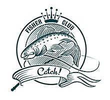 Badge or label with jumping salmon.   by devaleta