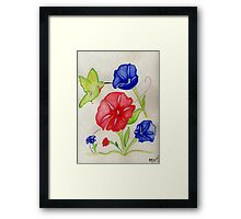 Patriotic Pansies and a Humming Bird Framed Print