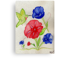 Patriotic Pansies and a Humming Bird Canvas Print