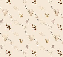 Seamless pattern with coffee beans and cups by Katharina13