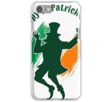 Saint Patricks Day emblem with joyful leprechaun.  iPhone Case/Skin