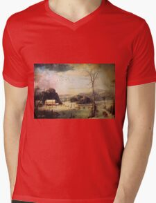 Christmas Scene Mens V-Neck T-Shirt
