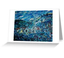 Village in Blue  Greeting Card