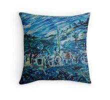 Village in Blue  Throw Pillow