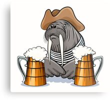 Humorous illustration of walrus with mugs full of beer.  Metal Print