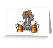 Humorous illustration of walrus with mugs full of beer.  Greeting Card