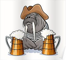 Humorous illustration of walrus with mugs full of beer.  Poster