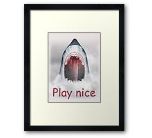 Play nice! Framed Print