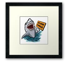 The shark voting against ocean pollution and garbage.   Framed Print