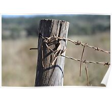 Rusty wire and fence post Poster