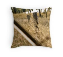 Old barb wire fence Throw Pillow