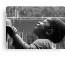 The Joy of Rain In Black and White Canvas Print