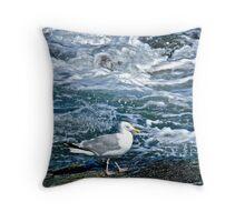 A Seagull Steps Along The Surf - Newport Rhode Island Throw Pillow