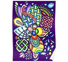 Rainbow Patterns Celtic and Geometric Drawing  Poster