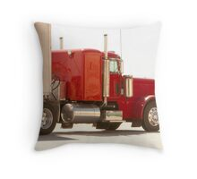 Bright Red Tractor with Trailer Throw Pillow