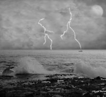 Ocean Storm in Evening in black and white by Karen Mezzano