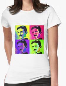 Nikola Tesla Pop Art Womens Fitted T-Shirt