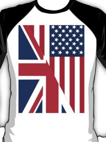 American and Union Jack Flag T-Shirt