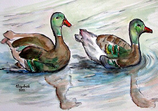The painting..Mallards maybe? by Elizabeth Kendall