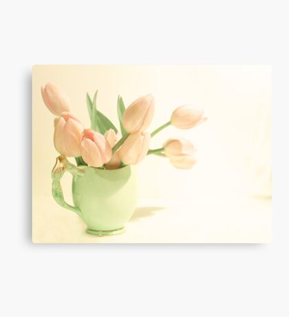 Pink Tulips, Green Jug Canvas Print