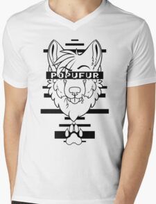 POPUFUR -black text- Mens V-Neck T-Shirt