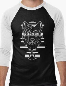 POPUFUR -white text- Men's Baseball ¾ T-Shirt