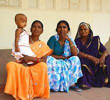 Four Generations at the Taj Mahal - India by Bev Pascoe