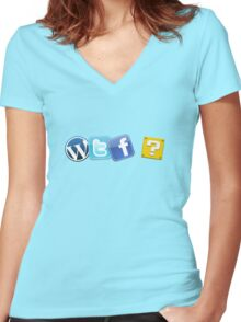 WTF ? Women's Fitted V-Neck T-Shirt