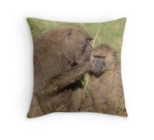 Kenya Baboons Throw Pillow