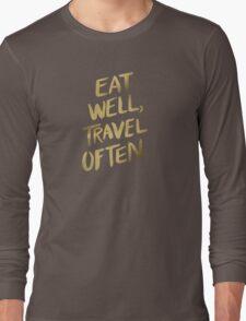 Eat Well, Travel Often – Gold Long Sleeve T-Shirt