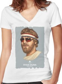 RIP RYAN DUNN Women's Fitted V-Neck T-Shirt