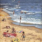 people on Bournemouth beach Blue Sea by martyee