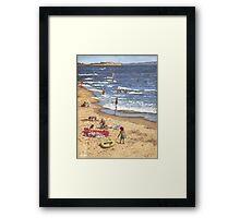 people on Bournemouth beach Blue Sea Framed Print