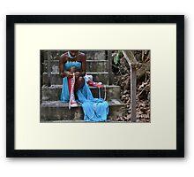 Blue Dress Red Converse Framed Print