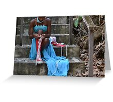 Blue Dress Red Converse Greeting Card