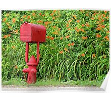 Firehouse Mailbox and Fire Hydrant Poster